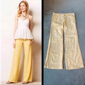 Pilcro Yellow Linen Wide Leg Pants 8